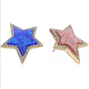 Betsey Johnson Pave Star Blue & Pink Earrings